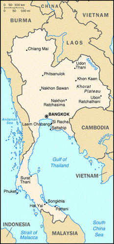 A map of Thailand.